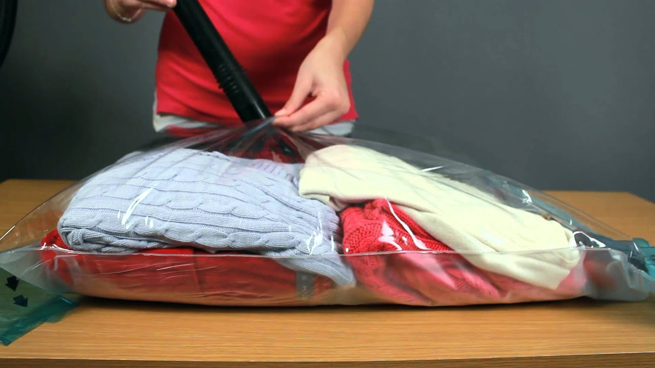 Using an air compression bag to shrink clothes