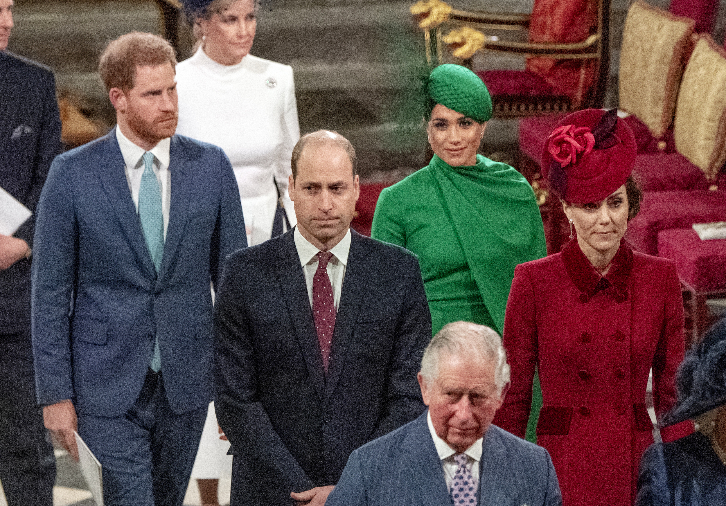 Commonwealth Day Service, Prince Harry and Meghan Markle pictured seated behind Prince William and Kate Middleton