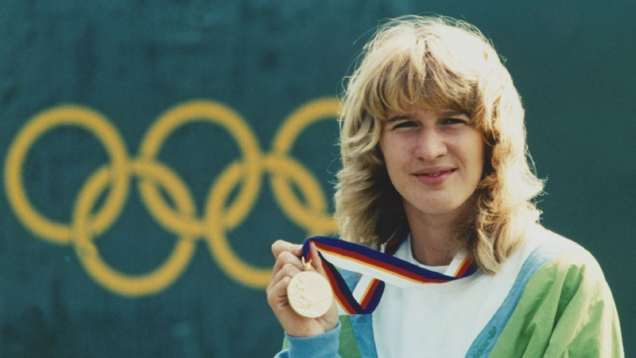 Steffi Graff winning a gold medal, October 1, 1988