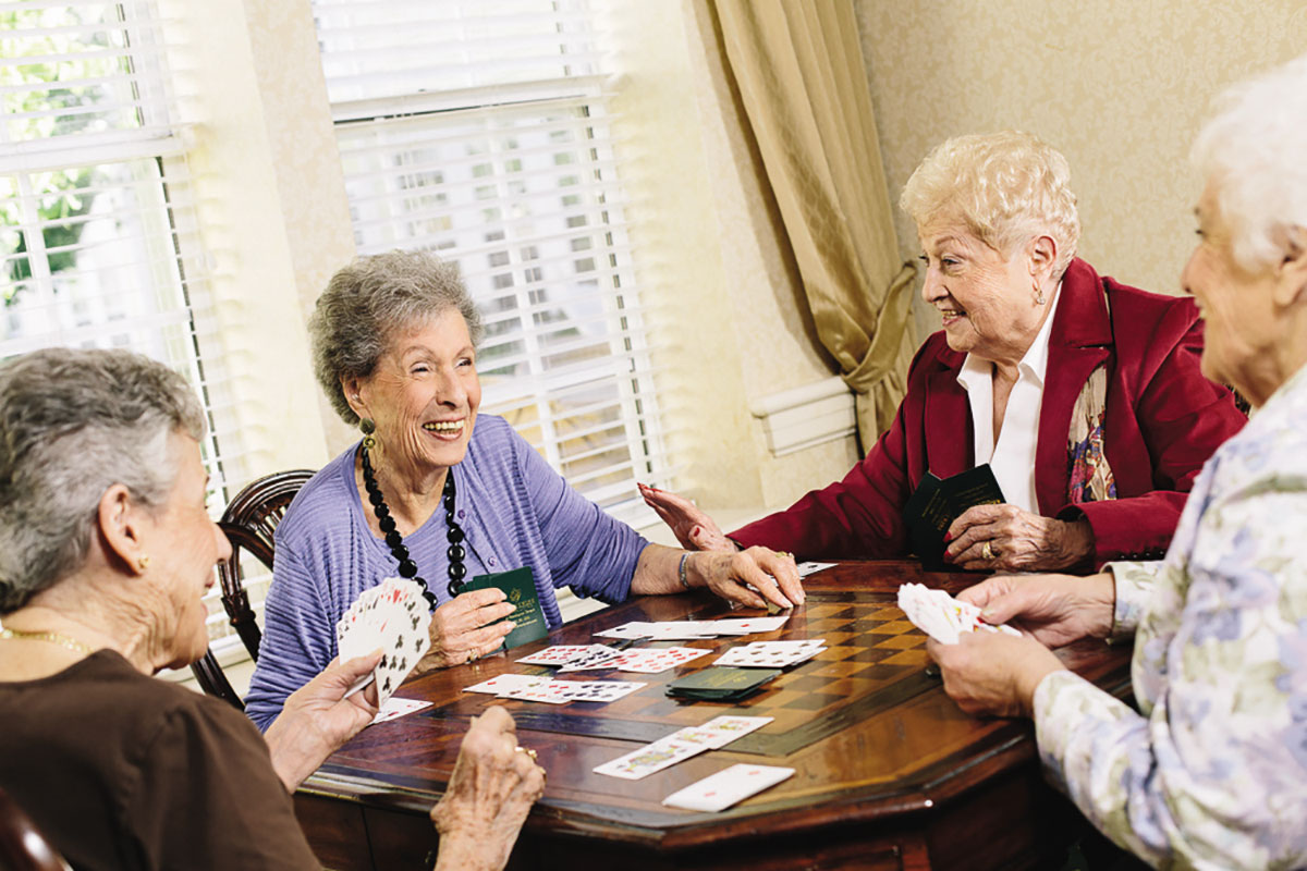 Grandmothers playing cards