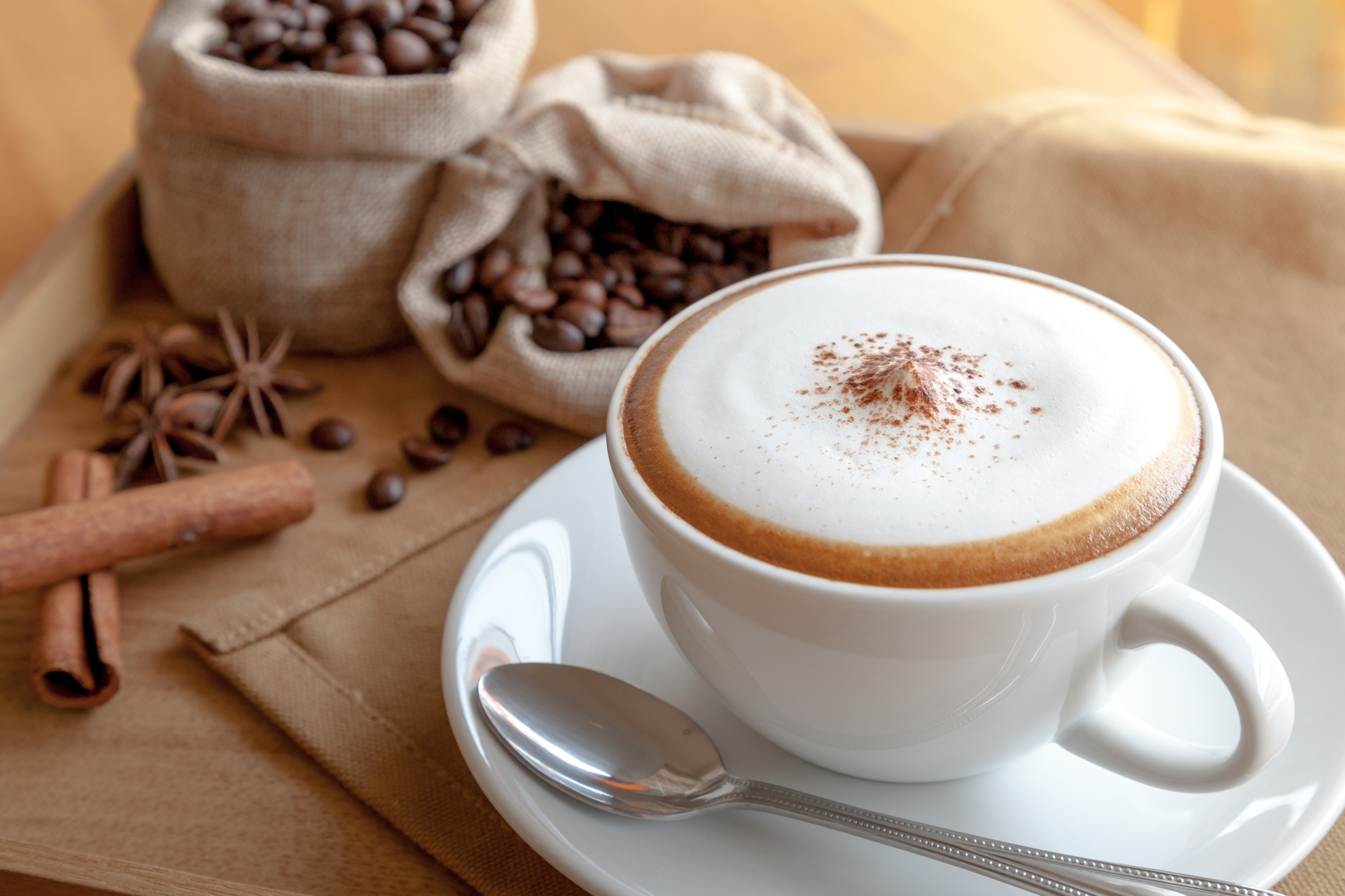 A cup of cappuccino with coffee beans as a side arrangement