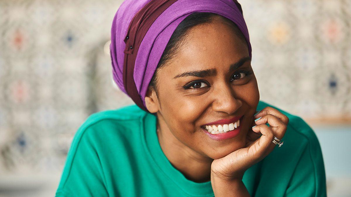 Nadiya Hussain posing for the camera, smiling