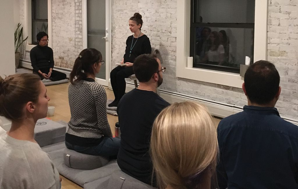 Yael Shy during a meditation class with her students