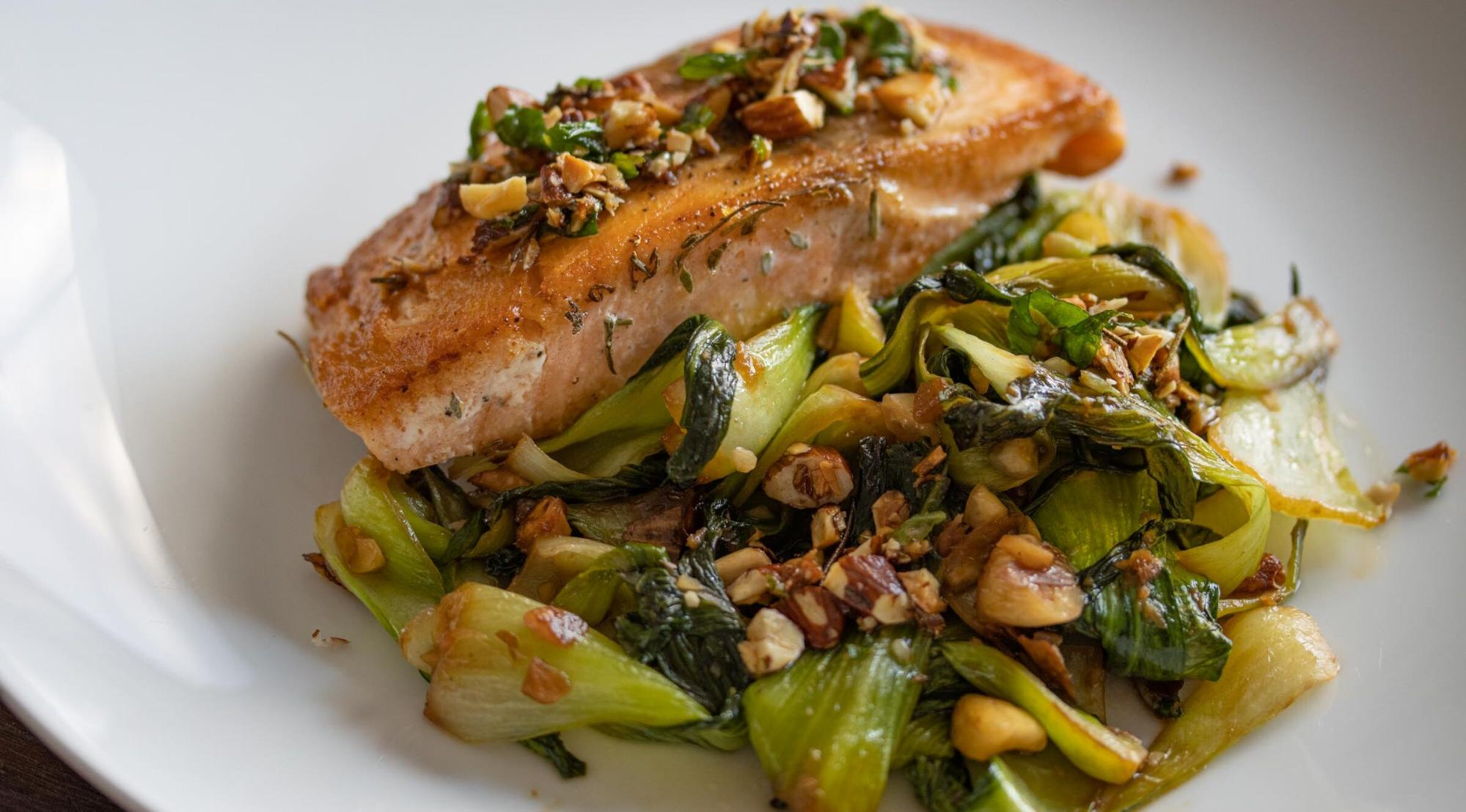 salmon with steamed bok choy recipe