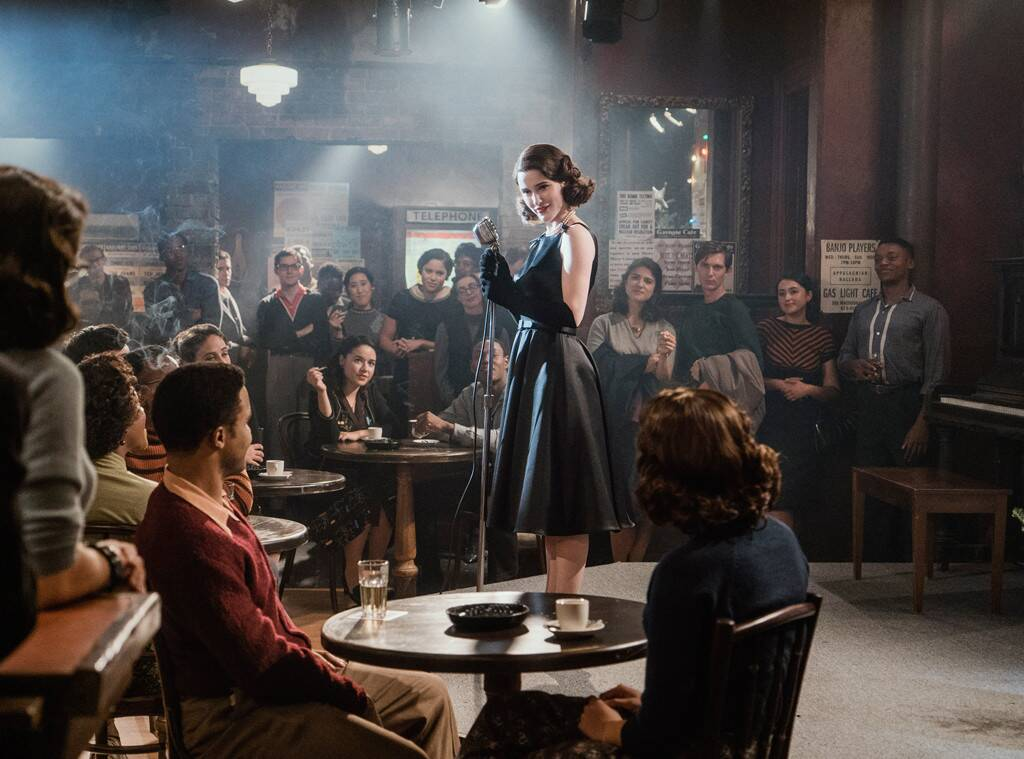 A scene from The Marvelous Mrs. Maisel where Mrs. Maisel is doing stand-up comedy