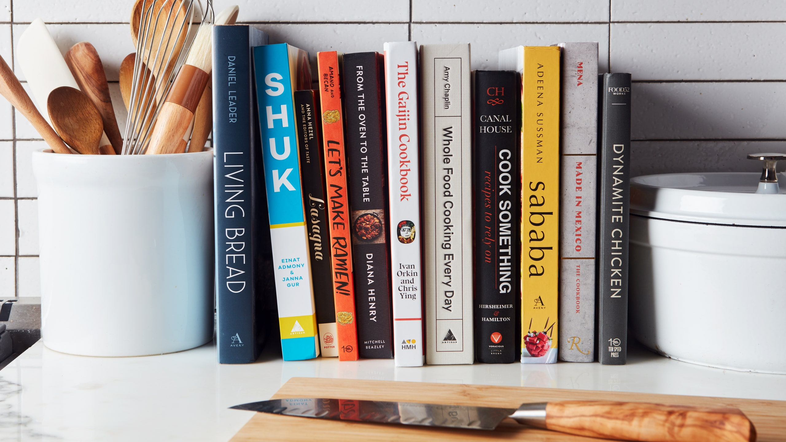 Cookbooks arranged on a countertop