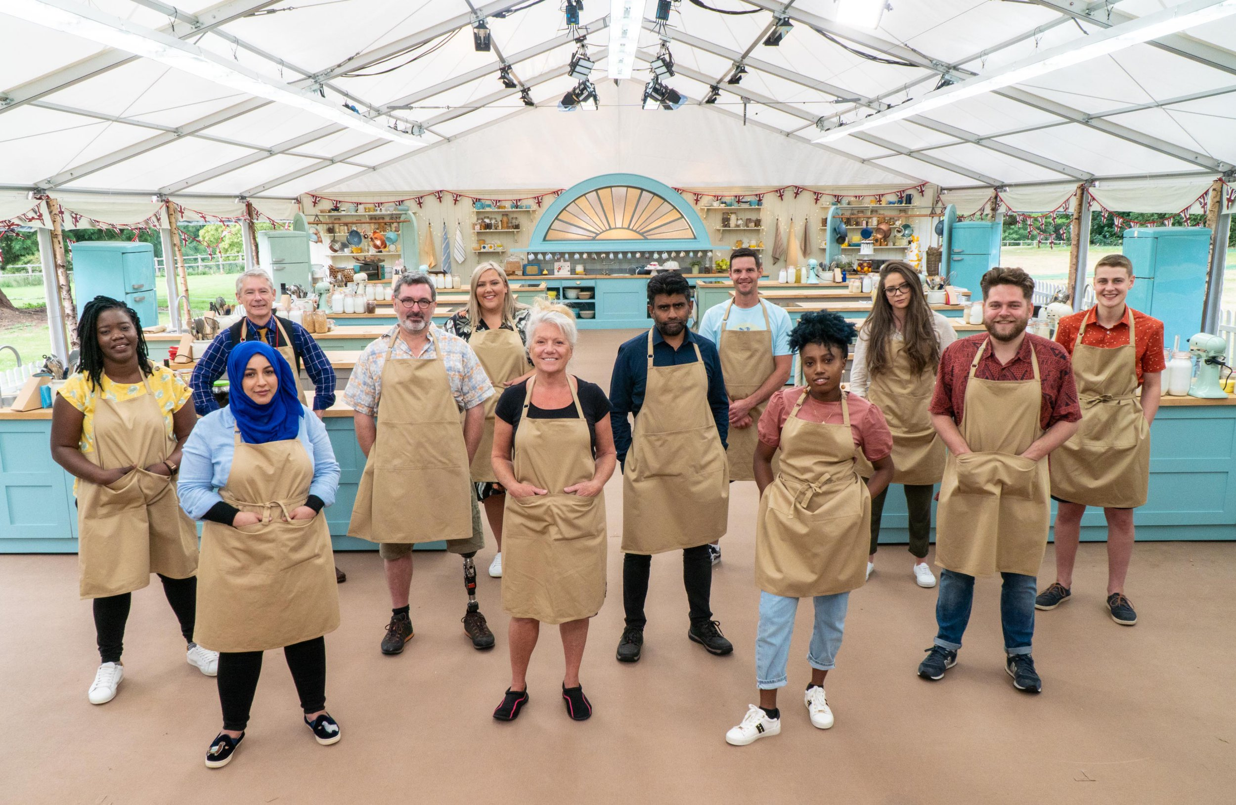 A lineup of the new contestants of Bake Off, 2020 inside the notorious tent