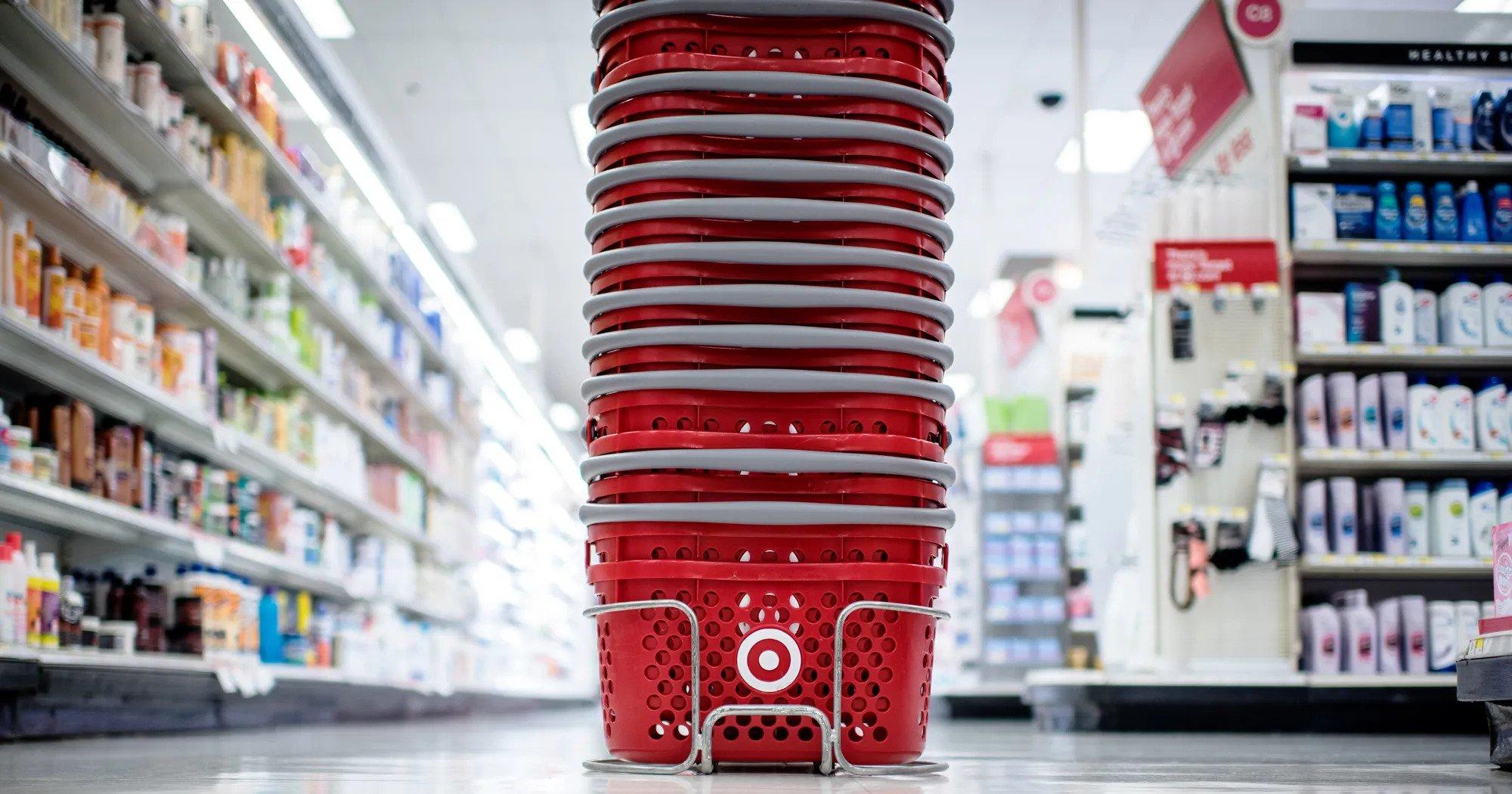 Stacked shopping carts between store isles