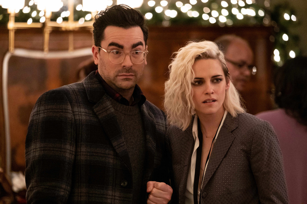 Dan Levy (right) and Kristen Stewart (right) on the set of Happiest Season