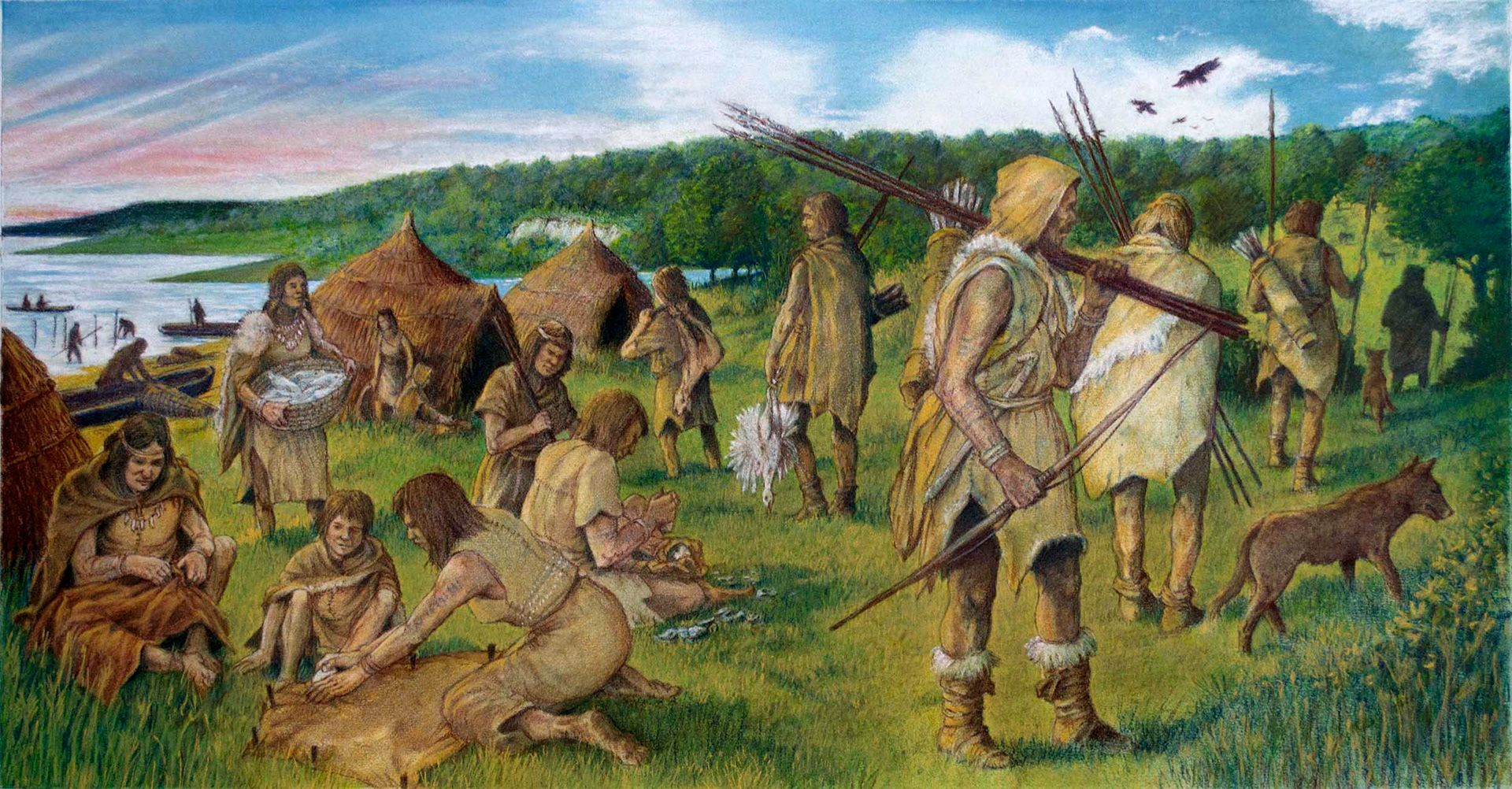 A depiction of a Mesolithic hunter-gatherer community