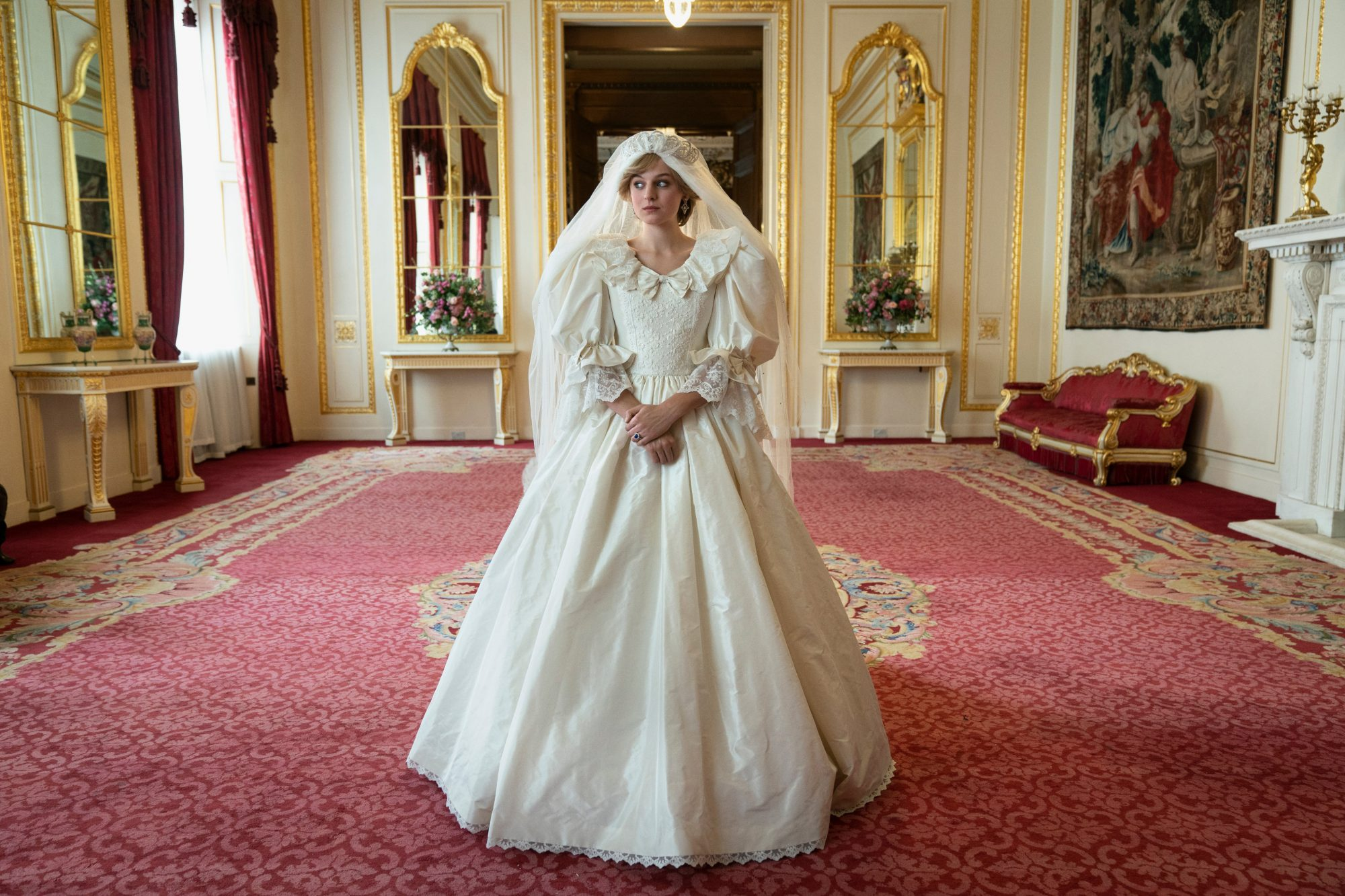 Emma Corrin as Princess Diana on her wedding day, 'The Crown'