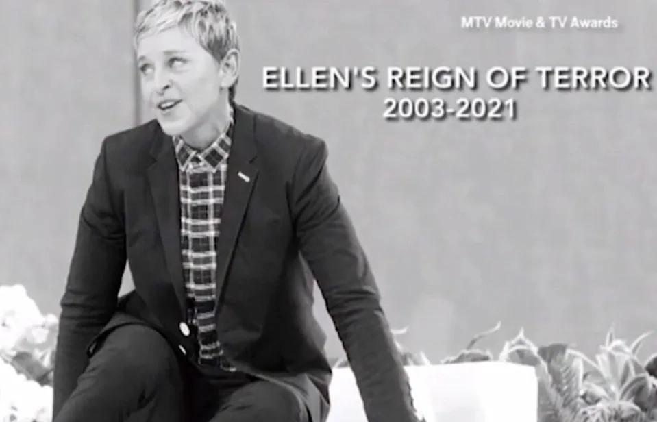 "a black and white picture of Ellen DeGeneres with the caption ""Ellen's reign of terror 2003-2021"""""