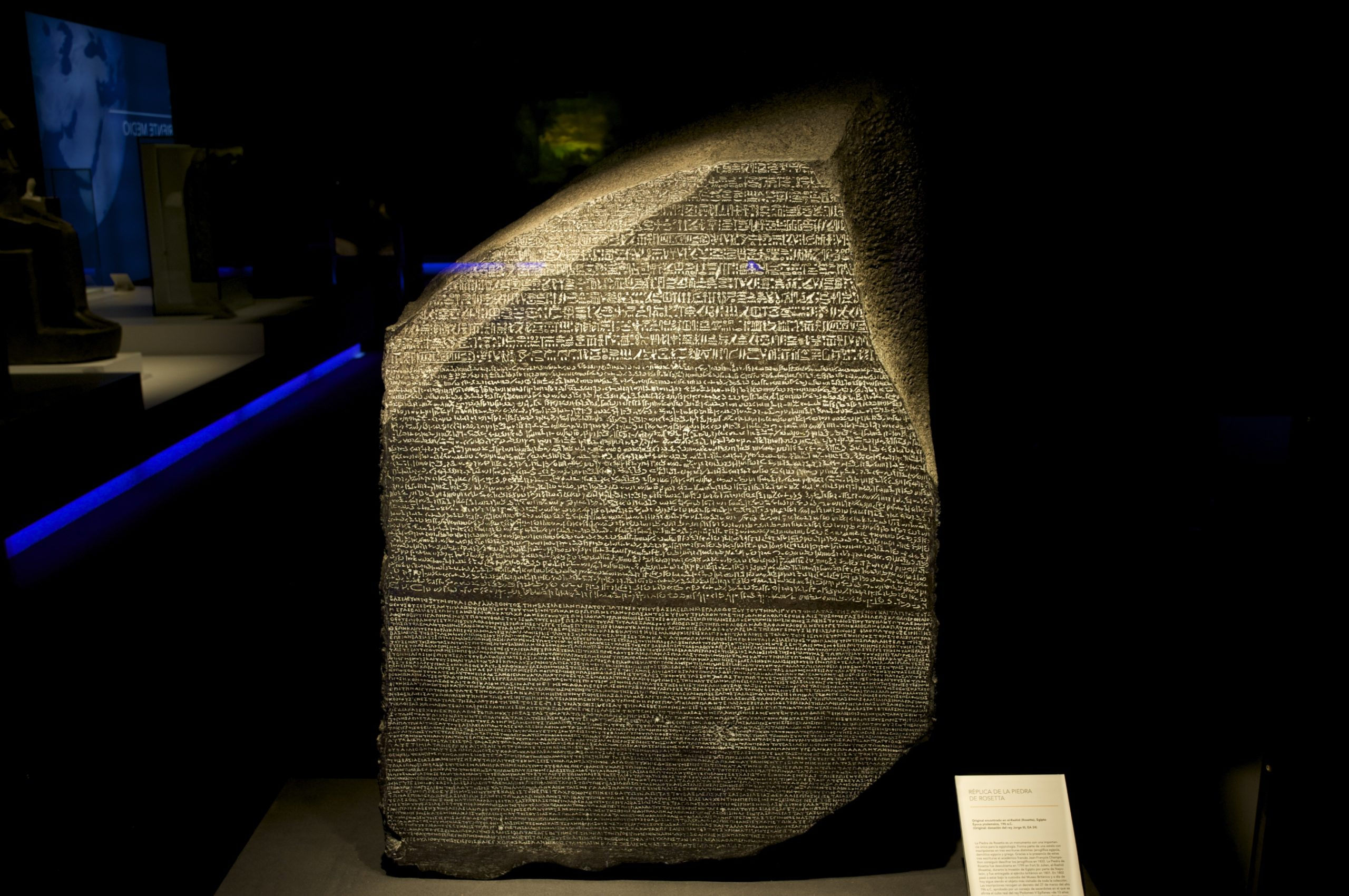 The Rosetta Stone is on display in the British Museum in London.