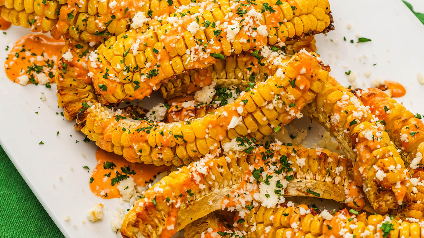 Corn ribs covered in herbs and butter